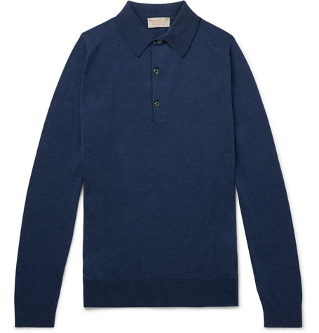 Lanlay Slim Fit Sea Island Cotton And Cashmere Blend Polo Shirt by John Smedley