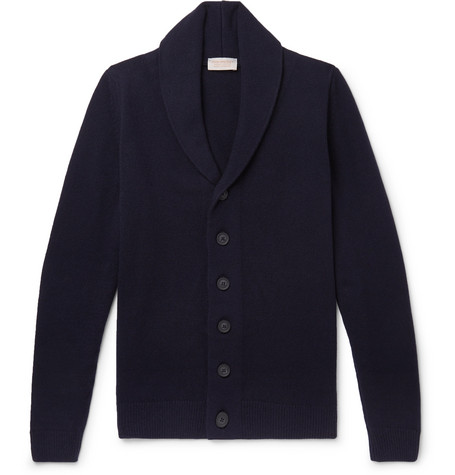 JOHN SMEDLEY | John Smedley - Patterson Shawl-collar Wool And Cashmere-blend Cardigan - Blue | Goxip