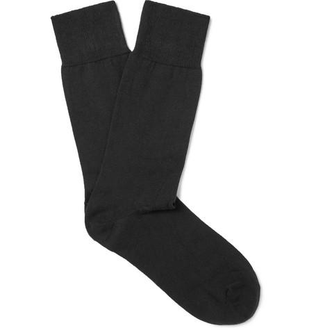 JOHN SMEDLEY | John Smedley - Eros Sea Island Cotton-blend Socks - Black | Goxip