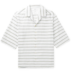 Joseph - Camp-Collar Embroidered Striped Cotton-Poplin Shirt