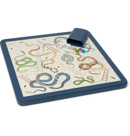 Leather Snakes And Ladders Set by William & Son