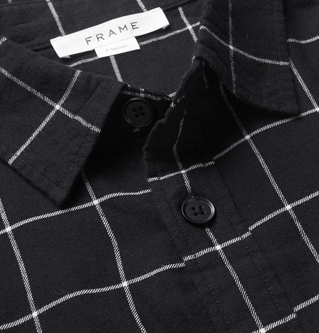Windowpane Checked Cotton Flannel Shirt by Frame