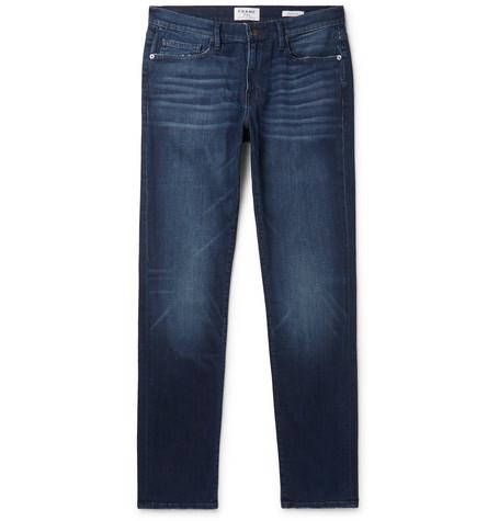FRAME | FRAME - L'homme Slim-fit Distressed Stretch-denim Jeans - Blue | Goxip