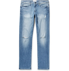 FRAME - L'Homme Slim-Fit Distressed Stretch-Denim Jeans