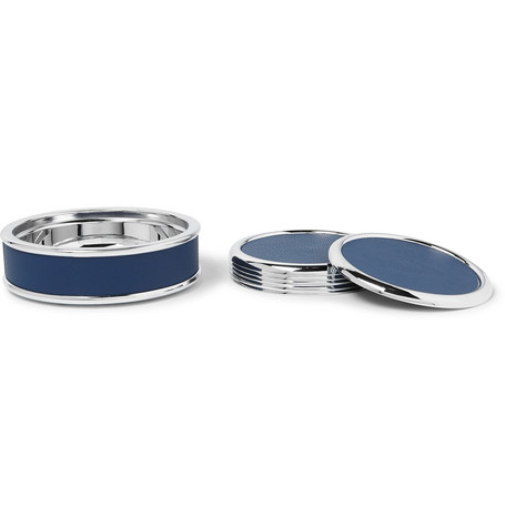 Lorenzi Milano Silver-Tone and Full-Grain Leather Coaster Set