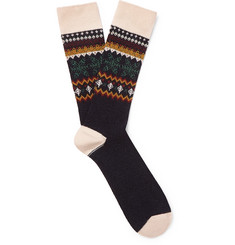 Anonymous Ism Fair Isle Jacquard-Knit Socks