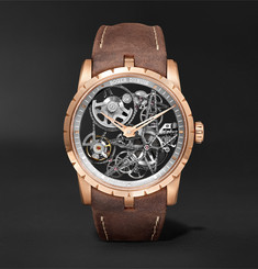 Roger Dubuis Excalibur Automatic Skeleton 42mm 18-Karat Pink Gold and Leather Watch