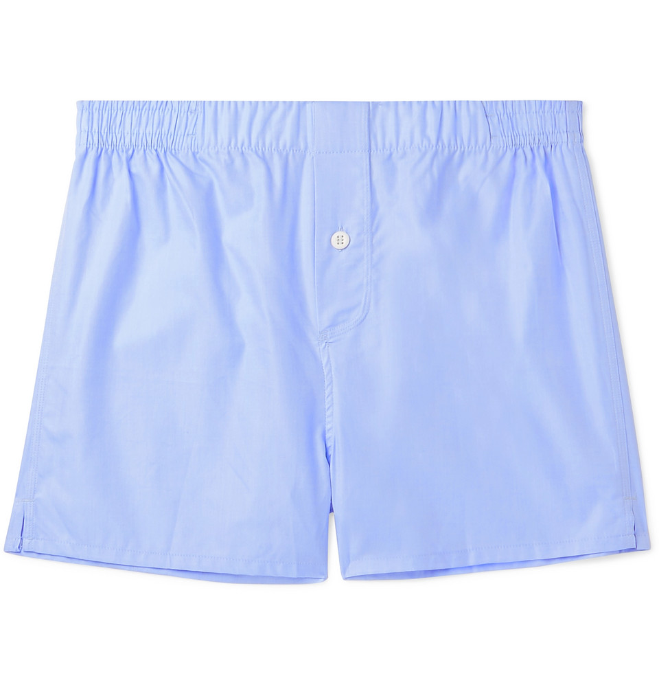 Cotton-twill Boxer Shorts - Sky blue