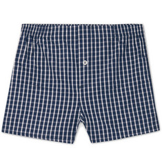 Hamilton and Hare Checked Cotton-Poplin Boxer Shorts