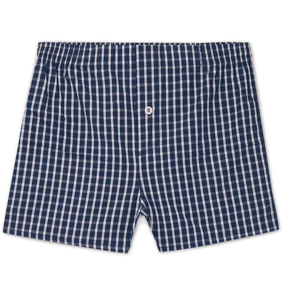 Checked Cotton-poplin Boxer Shorts - Navy