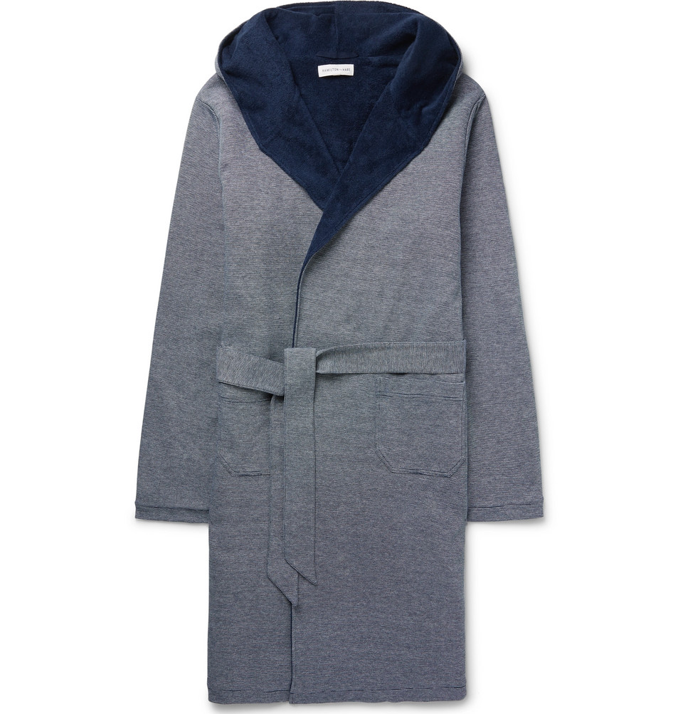 Striped Loopback Cotton-piqué Hooded Robe - Navy