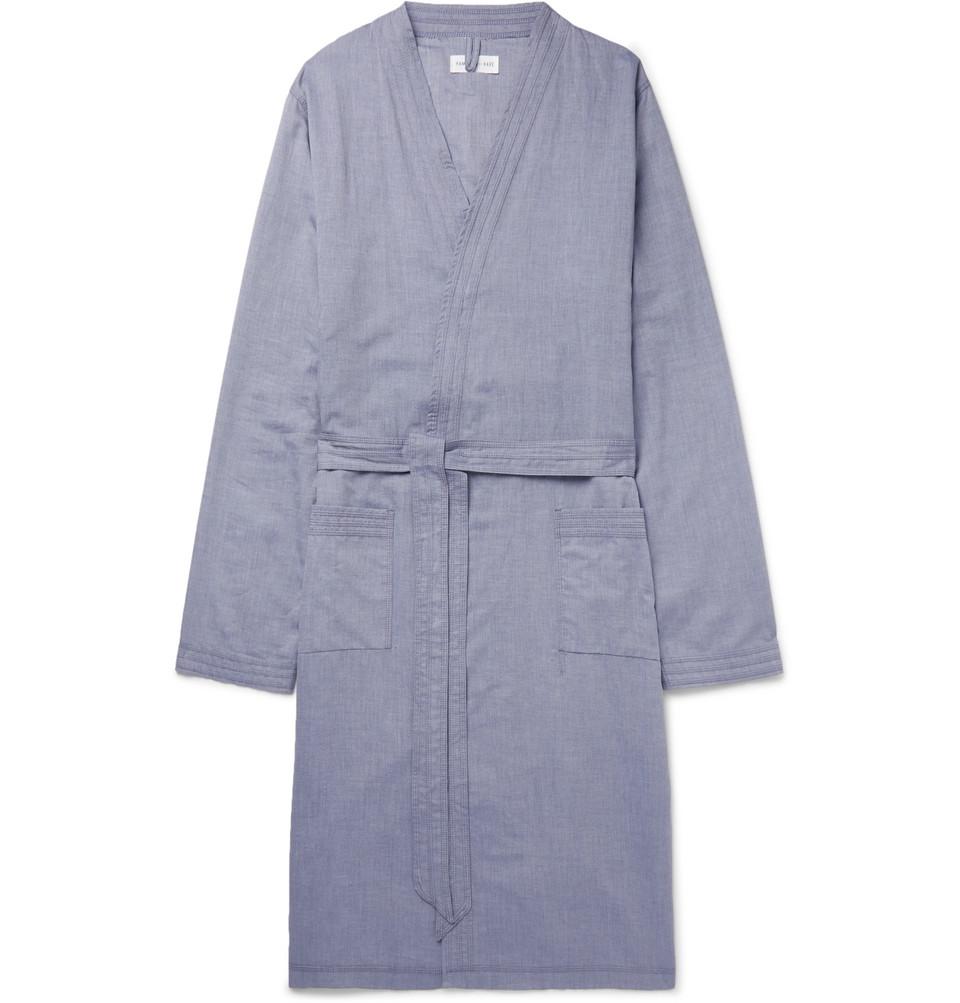Cotton-chambray Robe - Blue