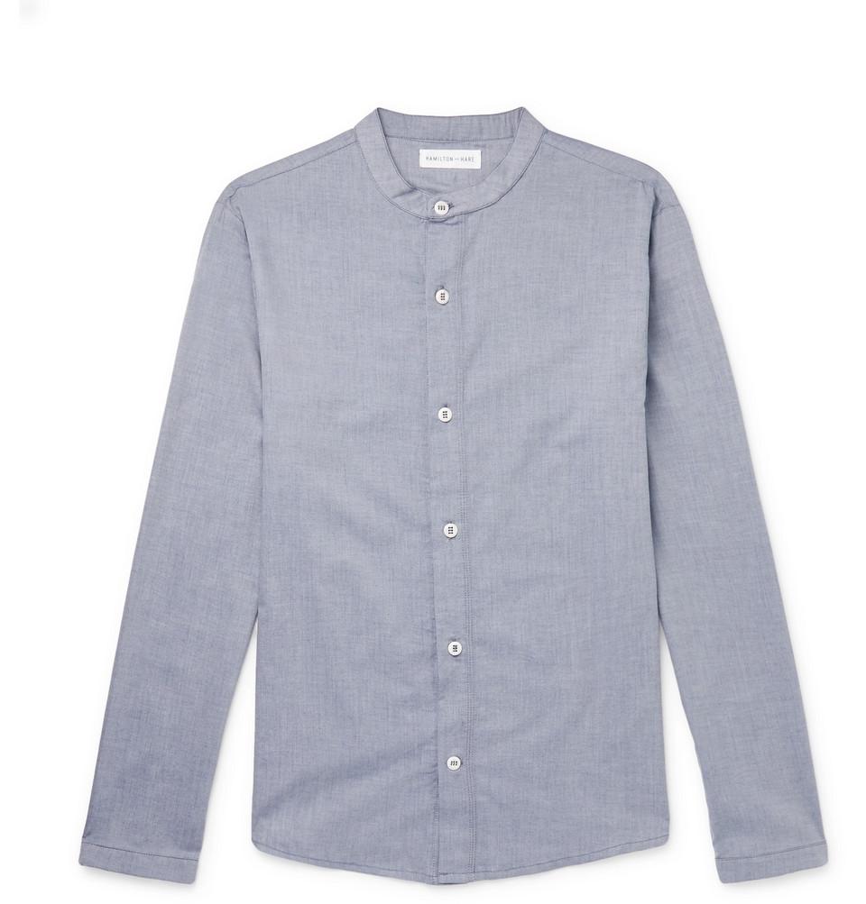 Cotton And Cashmere-blend Pyjama Shirt - Blue