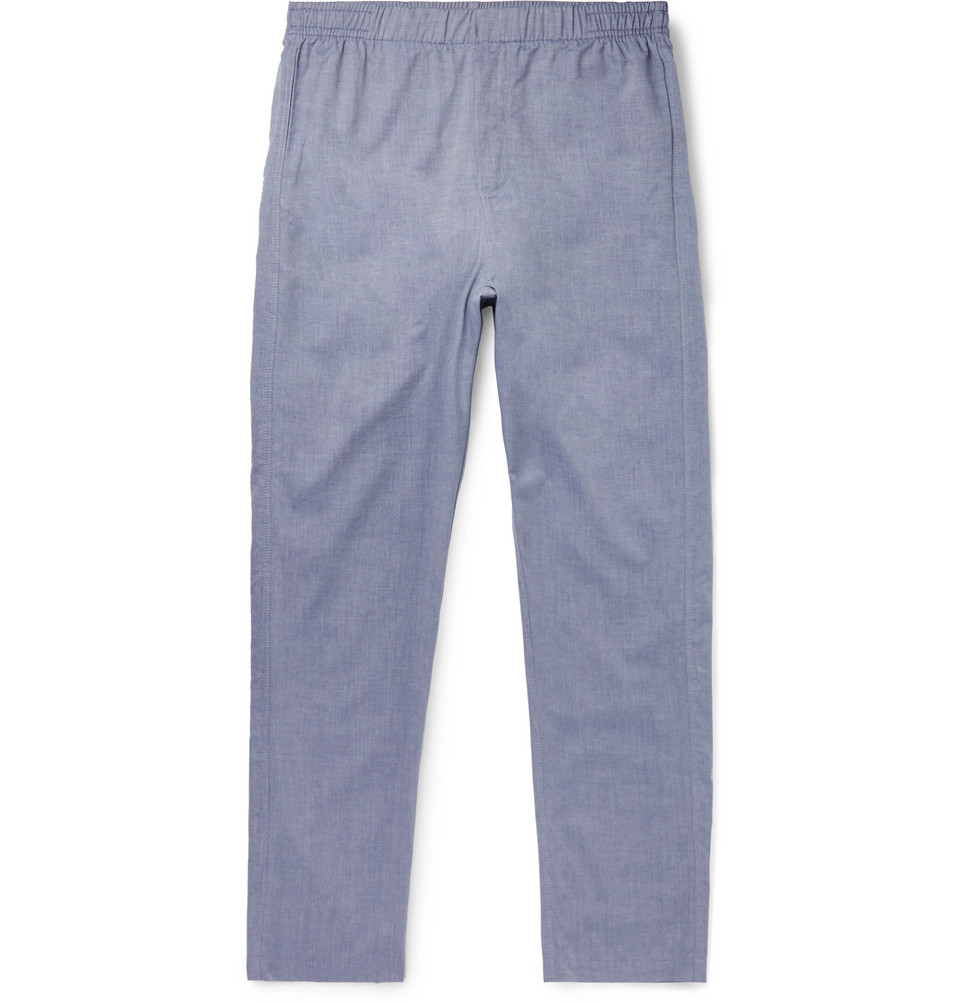 Cotton And Cashmere-blend Pyjama Trousers - Blue