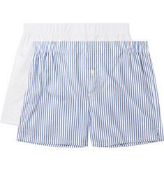 Hamilton and Hare Two-Pack Cotton-Poplin Boxer Shorts