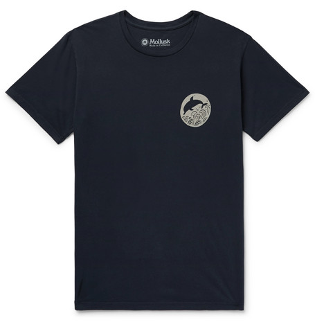 Dolphin Printed Cotton Jersey T Shirt by Mollusk