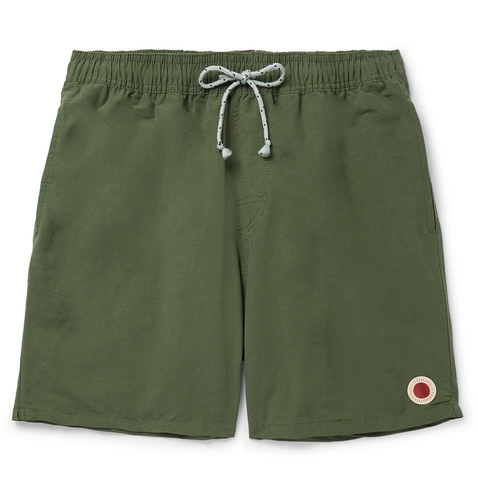 Mid-length Cotton-blend Swim Shorts - Army green