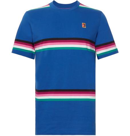 Nike Tennis - NikeCourt Striped Cotton-Jersey Tennis T-Shirt 90d6dbc71f0