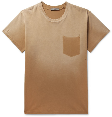 BILLY Marshall Distressed Cotton-Jersey T-Shirt in Orange