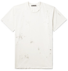 BILLY Deacon Paint-Splattered Distressed Cotton-Jersey T-Shirt