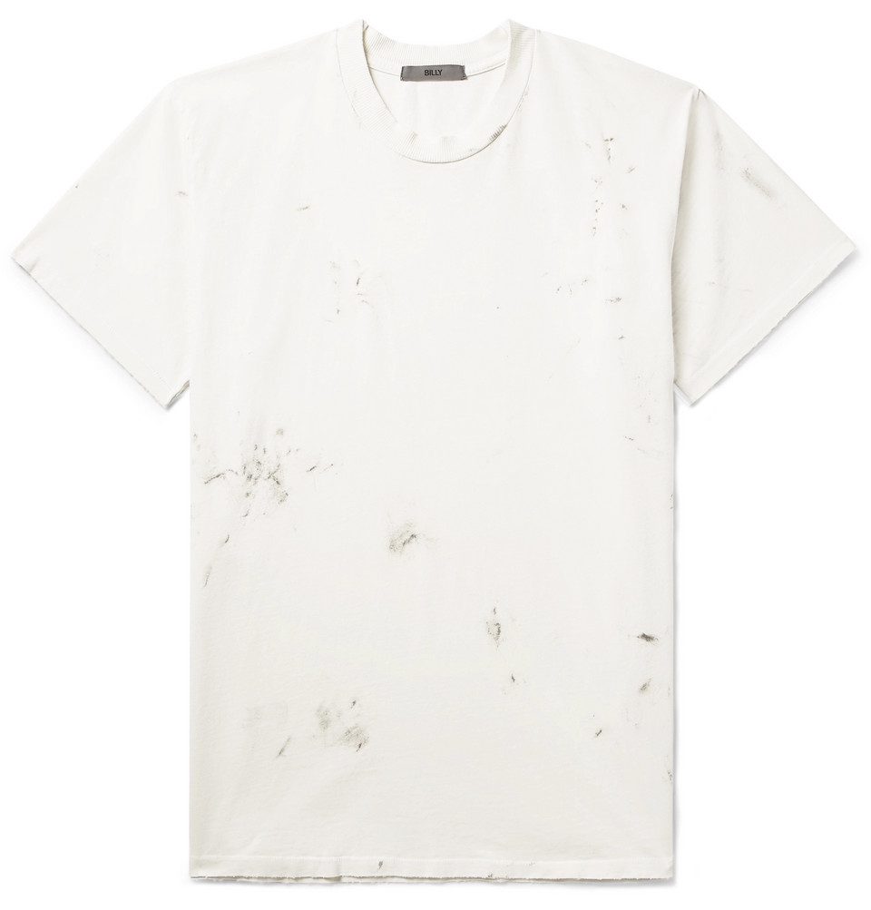 Deacon Paint-splattered Distressed Cotton-jersey T-shirt - Off-white