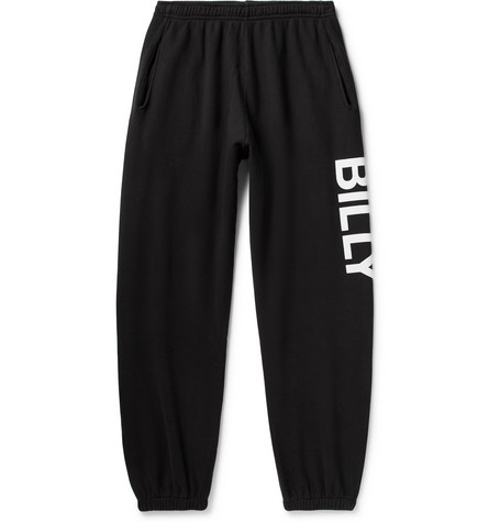 BILLY Tapered Logo-Print Loopback Cotton-Jersey Sweatpants in Black