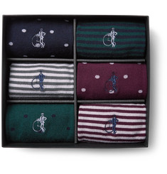 London Sock Co. - Simply Sartorial Six-Pack Stretch Wool-Blend Socks