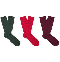 London Sock Co. - Three-Pack Polka-Dot Stretch Cotton-Blend Socks