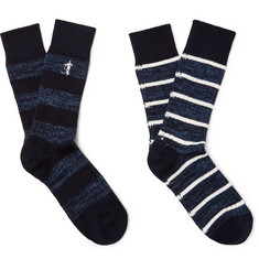 London Sock Co. - Two-Pack Striped Cotton-Blend Socks