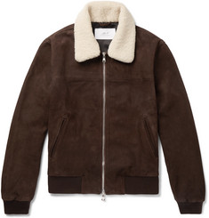 Mr P. - Shearling-Trimmed Suede Bomber Jacket