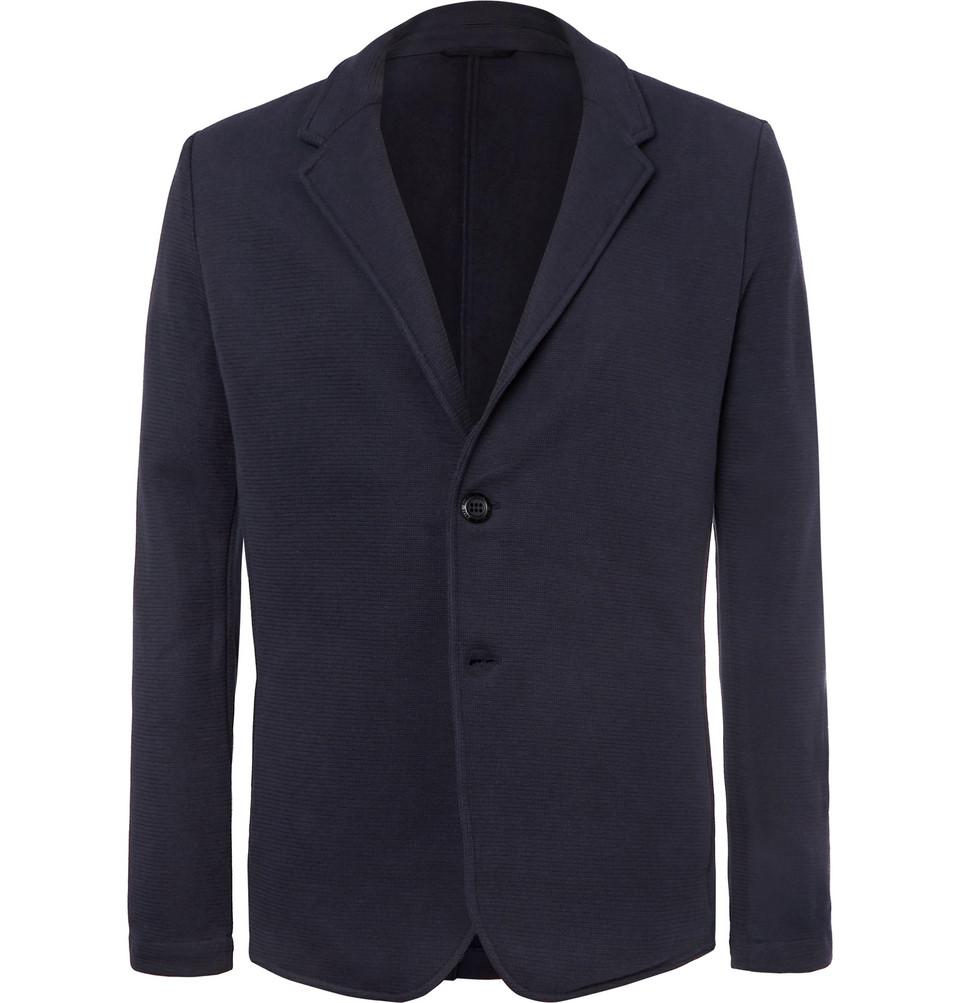 Navy Travel Cotton-blend Jersey Blazer - Navy