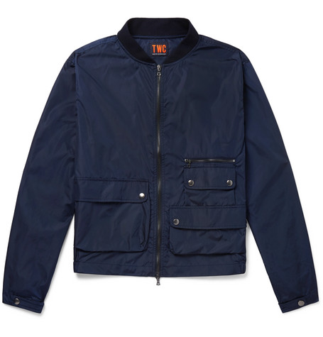 THE WORKERS CLUB Cotton-Shell Bomber Jacket in Navy