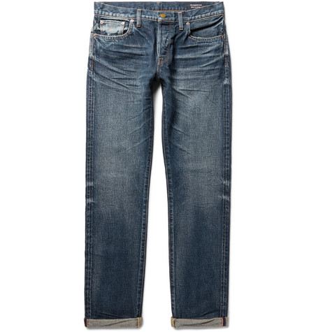 THE WORKERS CLUB Slim-Fit Selvedge Denim Jeans in Blue