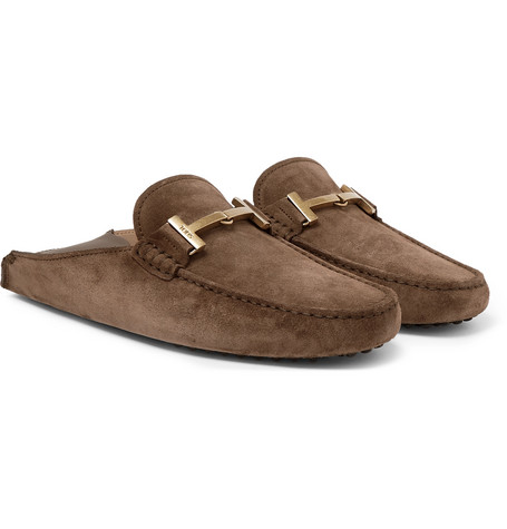 Gommino Collapsible-heel Nubuck And Leather Driving Shoes - Brown