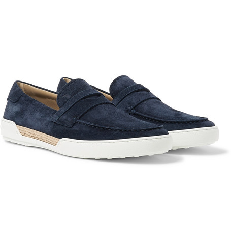 Riviera Suede Penny Loafers - Midnight blue