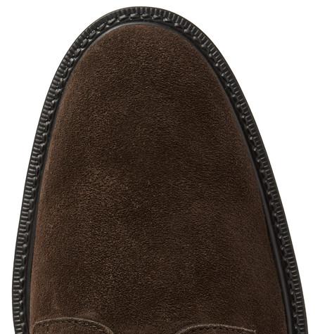 Suede Derby Shoes - Dark brown