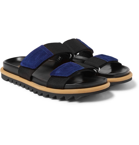 Suede Trimmed Webbing Sandals by Dries Van Noten