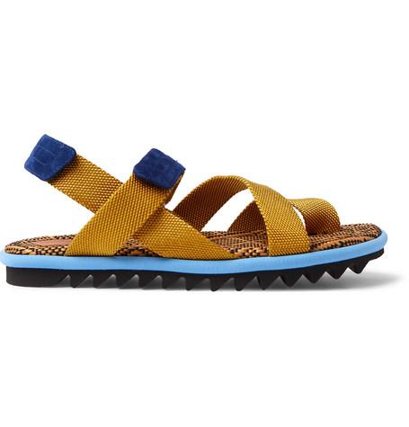 be1160d4a146 Dries Van Noten Suede-Trimmed Webbing Sandals - Yellow ...
