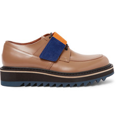 Dries Van Noten Webbing and Suede-Trimmed Polished-Leather Derby Shoes