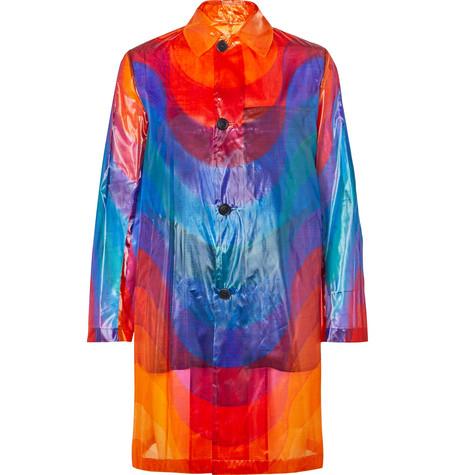 Printed Polyamide And Silk Blend Coat by Dries Van Noten