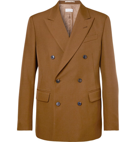 Camel Double Breasted Wool Blend Twill Blazer by Dries Van Noten