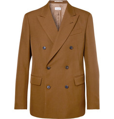 Dries Van Noten Camel Double-Breasted Wool-Blend Twill Suit Jacket