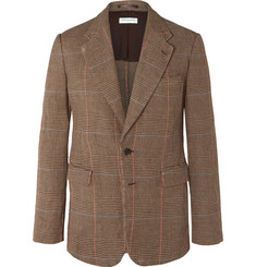 Dries Van Noten Brown Unstructured Prince of Wales Checked Linen Suit Jacket