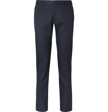 Navy Slim Fit Cotton Twill Suit Trousers by Dries Van Noten