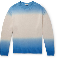 Dries Van Noten Oversized Ombré Cotton and Linen-Blend Sweater