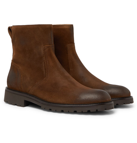 Attwell Burnished-suede Boots - Brown