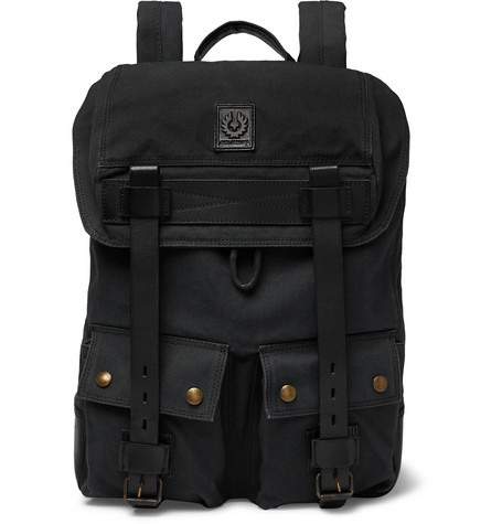 Belstaff - Leather-Trimmed Canvas Backpack 1be50260b21