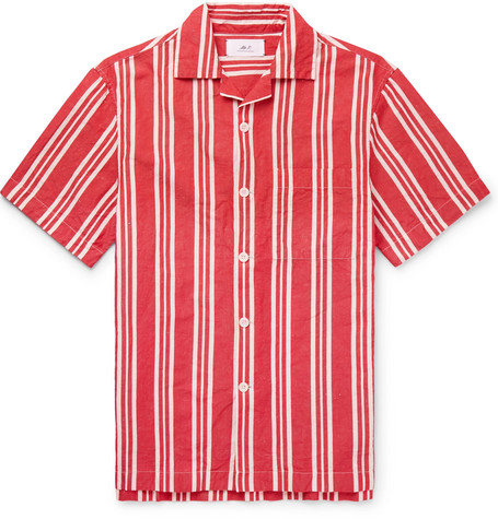 Camp Collar Striped Cotton And Linen Blend Shirt by Mr P.