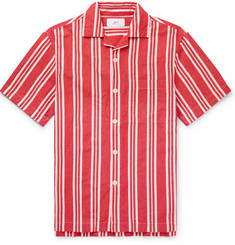 Mr P. Camp-Collar Striped Cotton and Linen-Blend Shirt