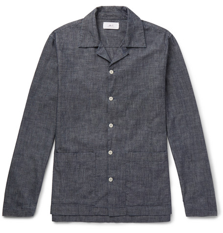 Camp Collar Washed Cotton Chambray Shirt by Mr P.
